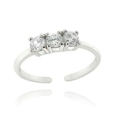 925 Silver CZ Three Stone Toe Ring
