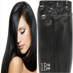 Free Shipping~Hot 8pcs Clip In Human Hair Extentions Full Head Long Length 100g