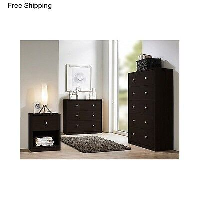 Bedroom Furniture 3 piece Set Nightstand Desser Chest Drawers Table Queen King