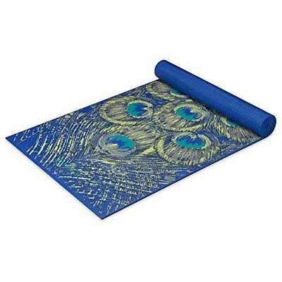 Gaiam Premium Yoga Mat, Sapphire Feather, printed design 6mm Brand New
