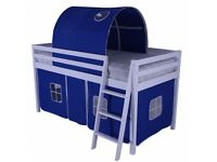 Childrens White Cabin Bed Complete with Mattress/Tents and Tunnel in Blue