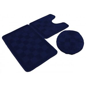 3 Piece Solid Navy Blue Bathroom Set Bath Mat Contour Lid Cover Rug Carpet Ebay