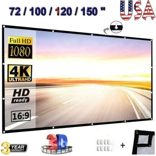 16:9 HD Projector Projection Screen 4K 3D Home Theater Movie