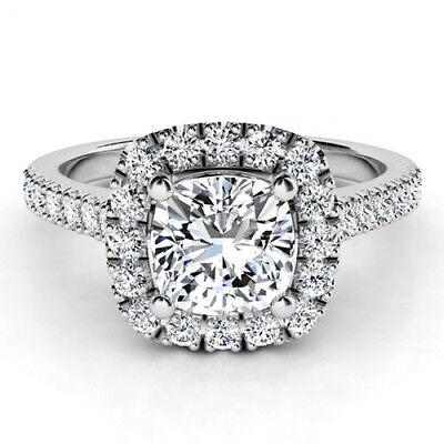 18k Gold 4.60 Carat GIA Certified Cushion & Round Cut Diamond Engagement Ring