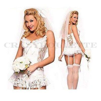 SeXy Braut Kostüm Dessous Hochzeit Jungesellen Weiss Schleier Reizwäsche L/XL