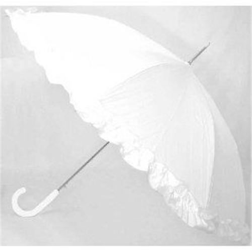 Ladies Parasol Ruffle Edge Stick Umbrella White Black Purple Pink Red Available