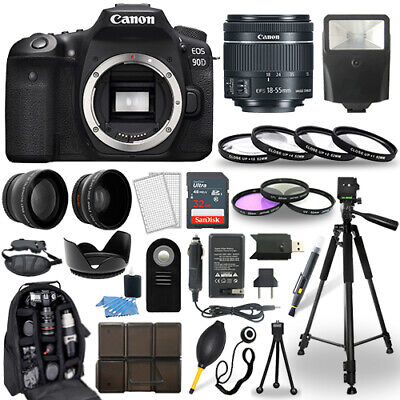 Canon EOS 90D DSLR Camera + 18-55mm STM Lens + 30 Piece Accessory Bundle