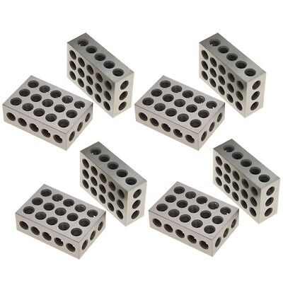 4 Pair 8 1-2-3 Block Set 0.0001 Precision Matched Mill Machinist 123 23 Holes
