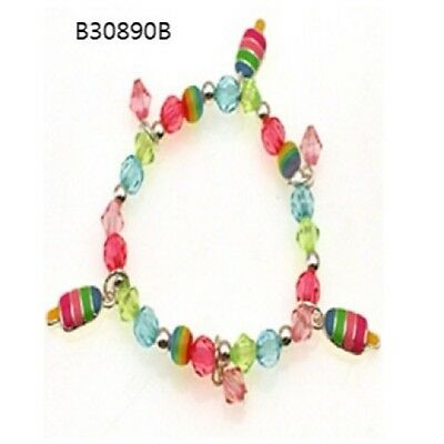 Childrens Multi-Color Beaded Stretch Bracelet With Icepop Charms
