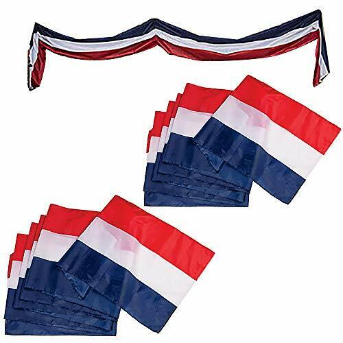 Large Patriotic US Flag Bunting Decorations 4th of July Large Red, 2-Pack