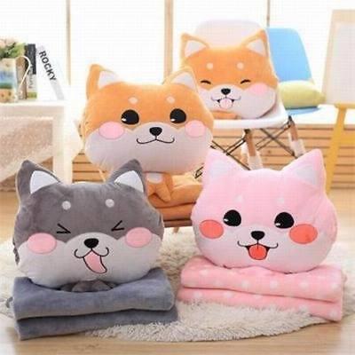 Shiba Blanket Pillow Dog Plush Teddy Warm Soft Great For Travel