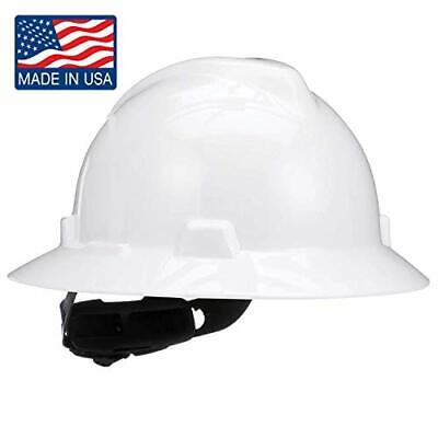 MSA 475369 V-Gard Slotted Full-Brim Hard Hat with 4-point Fas-Trac III Suspen...