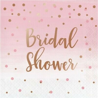 Rose and Gold All Day Bridal Shower 3-Ply Lunch Napkins Wedding Decorations](Wedding Paper Plates And Napkins)