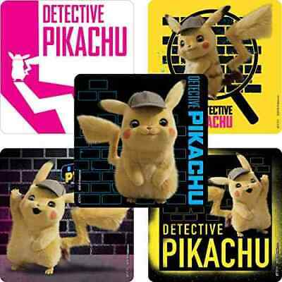 20 Pokemon Detective Pikachu STICKERS Party Favors Supplies for Birthday bags - Pokemon Birthday Favors