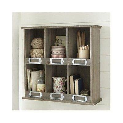 Wooden Pigeon Hole Wall Shelf Display Cabinet Unit Vintage Style Storage Unit