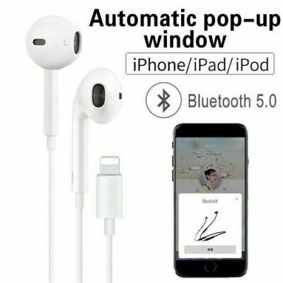 For Apple iPhone 7 8 X 11 Lightning Earphones With Mic Bluetooth  Pop-Up