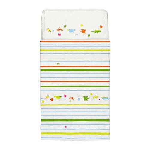 IKEA FANTASIDJUR Crib Duvet Quilt Cover & Pillowcase Multicolor Baby Cotton NEW