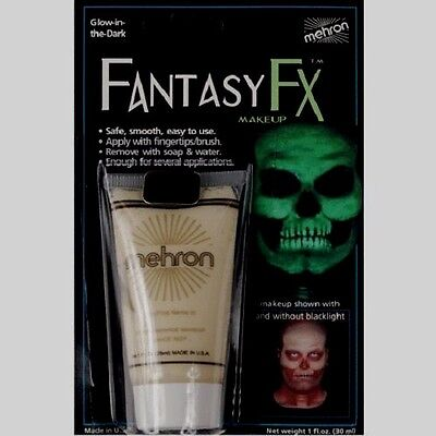 MEHRON GLOW-IN-THE-DARK FANTASY FX FACE PAINT CREAM BASED MAKEUP 1 fl. - Glow In The Dark Face Makeup