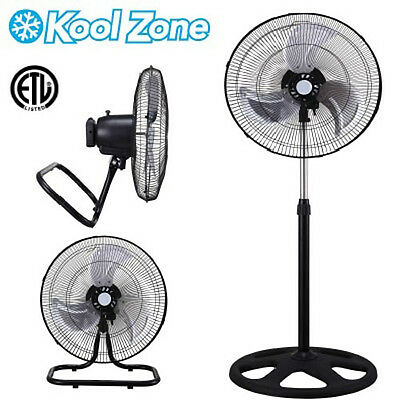 "18"" 100W Industrial Heavy-duty Metal 3 Spd Stand Floor Shop Garage Fan 3 in 1"