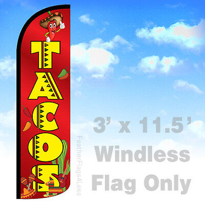Tacos Windless Swooper Feather Flag Banner Sign 3x11.5 - Rq