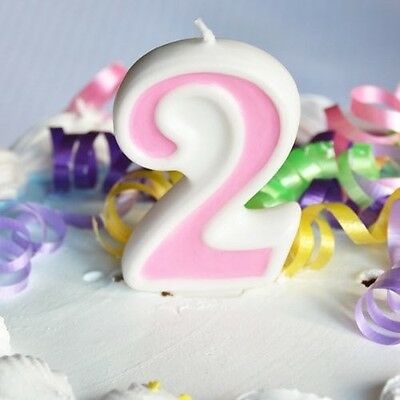 Pink 2 Number Candle White Premium Birthday Candle - Number 2 Candle