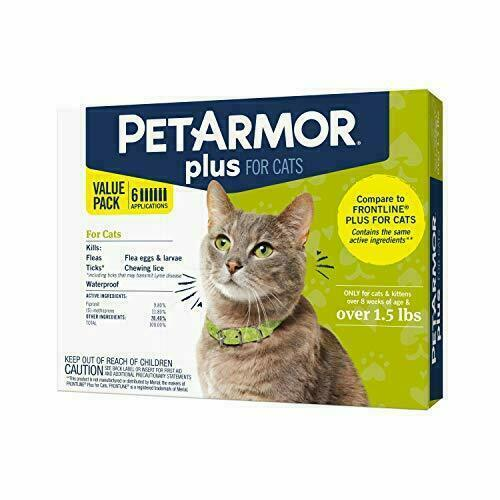 PETARMOR Plus for Cats over 1.5lbs Flea & Tick Prevention Cats Over 6 COUNTs
