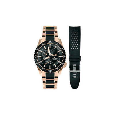 Men's JACQUES LEMANS 1-1584N Liverpool GMT Ceramic Rose  Gold  Brand New + band
