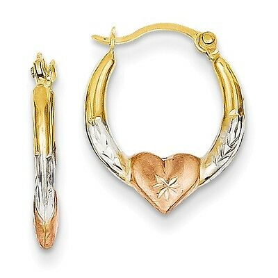 14K Yellow White & Rose Gold Diamond Cut Heart Hinged Post Hoop Earrings