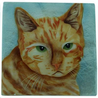 Kubla Crafts Capiz Shell Orange Kitty Cat Trinket Jewelry Gift Change Box