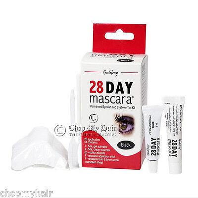 Godefroy 28 Day Mascara Permanent Eyelash   Brows Black Tint Kit 701   25 Apps