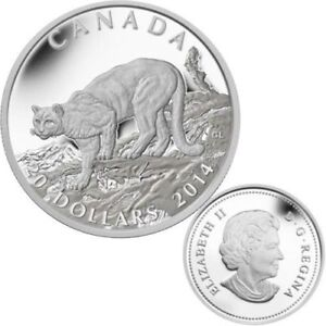 2014 Silver Cougar Atop a Mountain Coin - CLEARANCE
