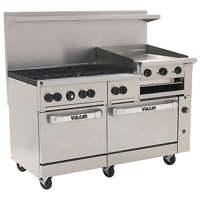 Vulcan Nat. Gas Range 60w 6 Burners 2 Ovens 24 Manual Griddlebroiler