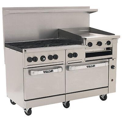Vulcan Nat. Gas Range 60w 6 Burners 2 Ovens 24 Manual Griddlebroiler