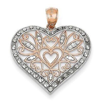 14K TWO TONE ROSE GOLD DIAMOND CUT FILIGREE HEART PENDANT - 1.65 GRAMS 14k Two Tone Diamond Pendant