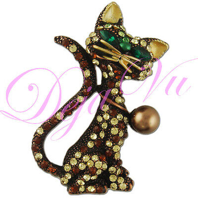 (BROWN IMITATION PEARL CRYSTAL CAT BROOCH PIN MADE WITH SWAROVSKI ELEMENTS )
