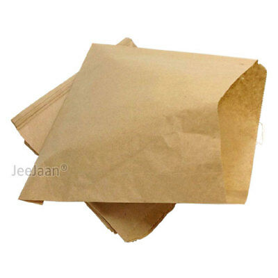 500 BROWN KRAFT  STRUNG PAPER BAGS FOOD SANDWICH GROCERY 250mm x 250mm