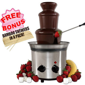 NEW Stainless Steel 3-tier Chocolate Fondue Fountain Machine For Dipping 41cm