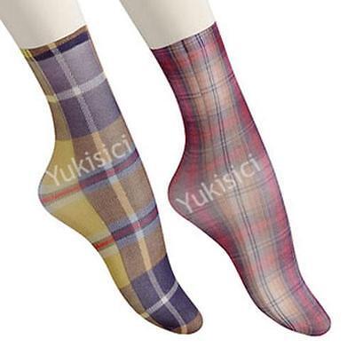 Vivienne Westwood Japan Ladies Socks Multi-colored Tartan Pattern-Size 23-25cm