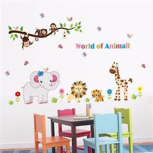 Animal Kids Nursery Wall Stickers 4 x Designs Available (see pictures) Golden Grove Tea Tree Gully Area Preview