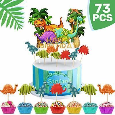 Tortendeko Geburtstag Junge 72 Stück Dinosaurier Cake Topper + Happy Birthday