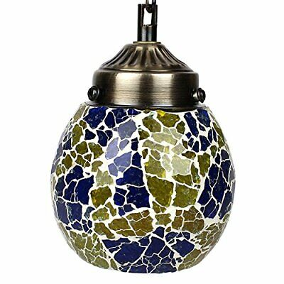 Egg Shaped Frosted Glass Blue & Green Decorated Glass Hanging Light