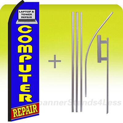 Feather Swooper Flutter Banner Sign Tall Flag 15 Kit   Computer Repair Bz
