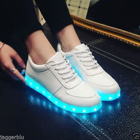 MULTICOLOUR LED SHOES WHITE TRAINERS WITH USB CHARGER SNEAKERS PUMPS 2018 PRICE.