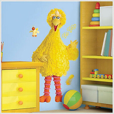 Sesame Street BIG BIRD wall stickers MURAL 58 inches tall decals room decor ()