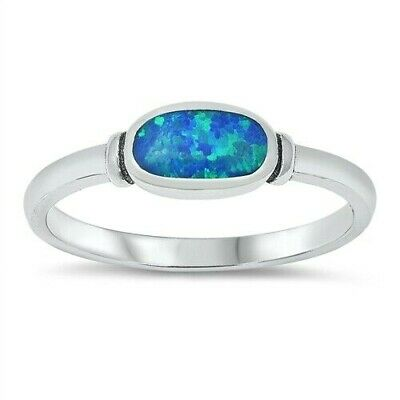Oval Ring Genuine Sterling Silver 925 Blue Lab Opal Face Height 6 mm Size 10