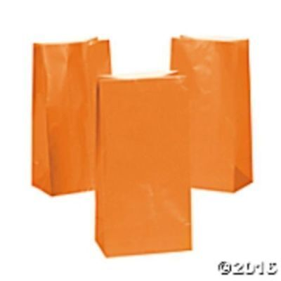 HALLOWEEN ~ 12 Orange Goody Bags Birthday Kids Party Favors Paper Gifts Candy