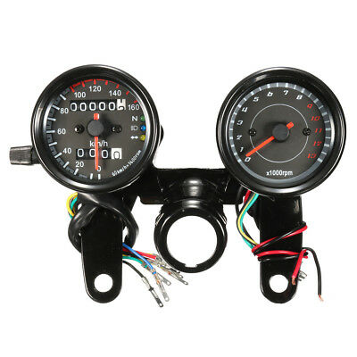 Universal Black 12V Motorcycle LED Light Odometer + Tachometer Speedometer Gauge