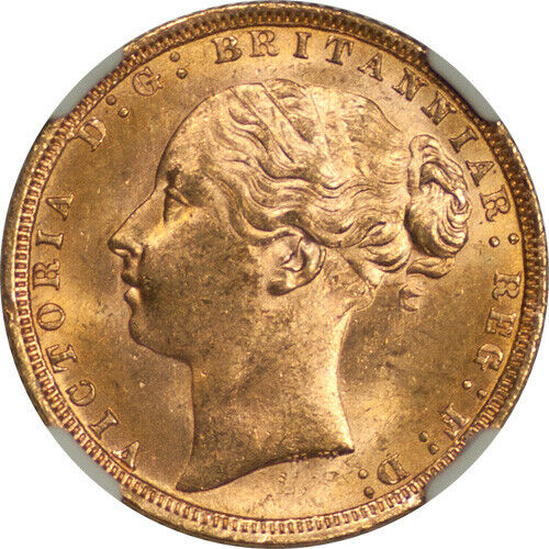 Great Britain 1871 Victoria Gold Sovereign (St. George Reverse) NGC MS-64