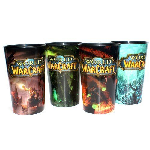 Limited Edition World of Warcraft Plastic 32 ounce Cups Set of 4 AM/PM Collector
