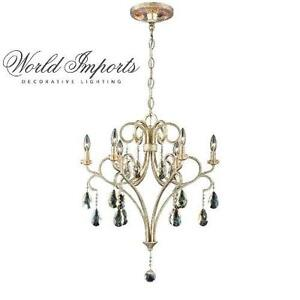 NEW WI 6-LIGHT SILVER CHANDELIER WORLD IMPORTS CARUSO COLLECTION 6-LIGHT CHANDELIERS LIGHTING DECOR LIGHTS CEILIN